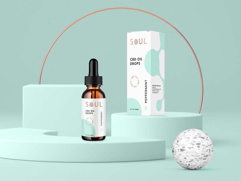 SOUL CBD Oil Drops type cannabidiol soul drop logo badge typography peppermint box cbdoil cbd bottle dropper identity design brand identity branding packaging