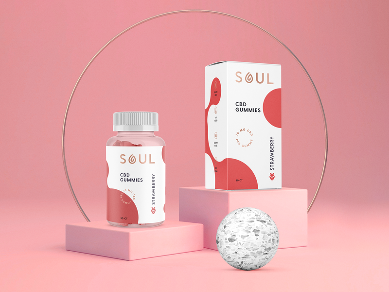 SOUL CBD Gummies hot foil quality premium high end logo typography type label bottle box nutrition wellness supplement gummies cannabidiol cbd packaging identity design brand identity branding