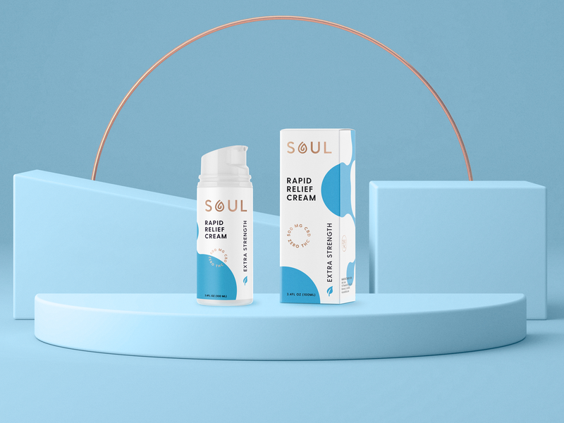 SOUL CBD Rapid Relief Cream wellness logo visual identity supplement soul premium packagingdesign packaging nutrition cbd logo hot foil healthcare helthy health cream cbd branding brand identity
