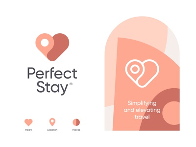 Perfect Stay two halves heart homestay guest host location startup travel branding wordmark pictorial mark trademark logo pattern visual elements visual identity brand identity