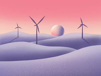 Calming Landscape 03 wellness health illustration sky open space hills sunset calm landscape windmill wind turbine