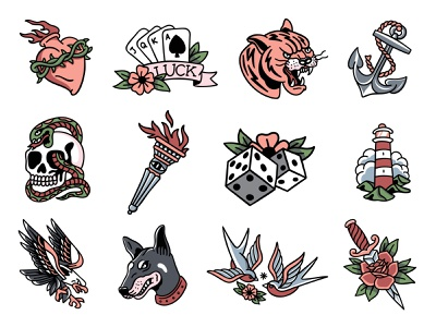 Traditional Tattoo Flashes old school tattoo traditional tattoo tattoo rose dagger birds swallows doberman eagle lighthouse skull and crossbones torch skull anchor tiger luck cards heart