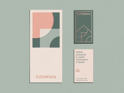 EvDekoru Stationery pattern overlap shape outline typography stationery set graphic design tag visual identity identity branding design business cards stationery design stationery