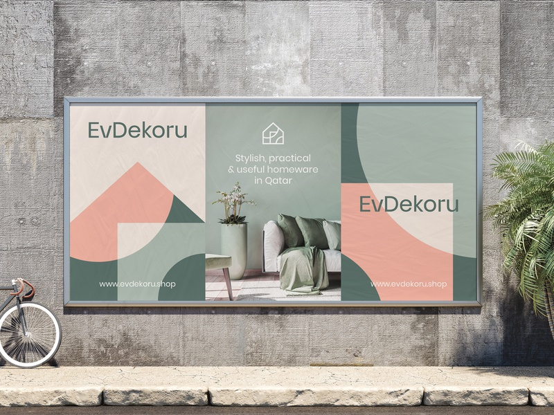 EvDekoru Outdoor Advertising ad decoration home decoration home decor house home pattern illustration typography logo visual  identity identity design identity branding billboard outdoor advertising
