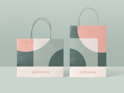 EvDekoru Shopping bag logo geometry visual elements pattern identity design brand identity branding design paper bag shopping bag packaging design packaging
