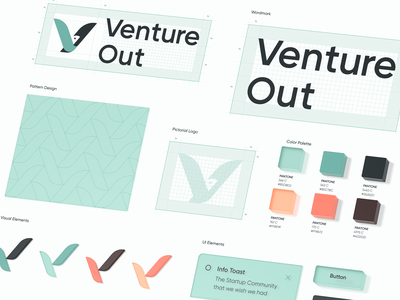 Venture Out - Brand Guidelines 3d c4d tech logo construction bird button ui visual elements color palette pattern brand guidelines venture saas startup pictorial mark logo brand identity branding