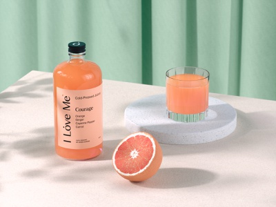 Packaging Design (Product render) octane render render product render cinema4d cold pressed wellness health teal orange juice beverage packaging visual identity brand identiy branding