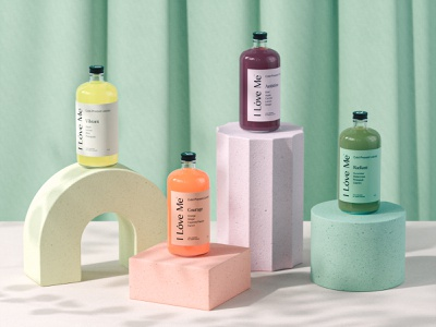 I Love Me octane render 3d juicery juice lifestyle health wellness packaging render cinema4d cgi product render visualidentity packaging packagingdesign brandidentity