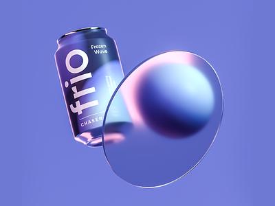 Brandign, Packaging design & CGI for Frio Chaser label can sparkling chaser electrolytes beverage render 3dart artwork design stratedy art direction identity octane 3d visual glass frosted cgi branding packaging