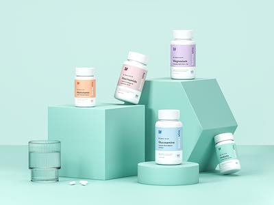 Packaging Design for BetterVits octane identity wellness health vitamins supplements render cinema 4d cgi brand identity branding packaging