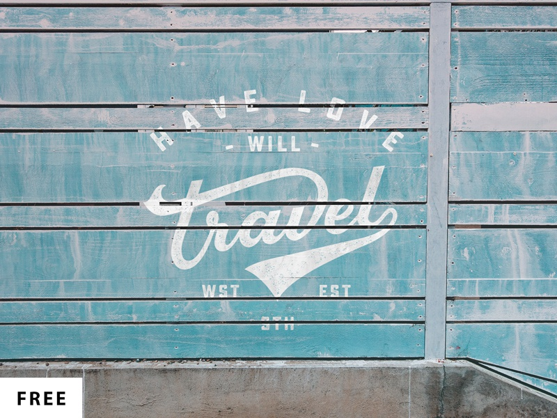 Free Wall Logo Mock-up vintage template logo mockup wall retro blue travel retro mockup wall mockup free mockup mock up free
