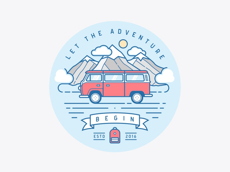 Let The Adventure Begin flat illustration backpack mountains clean line art outline adventures travel minivan car