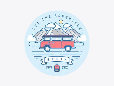 Let The Adventure Begin flat illustration backpack mountains clean line art outline adventures travel minivan car