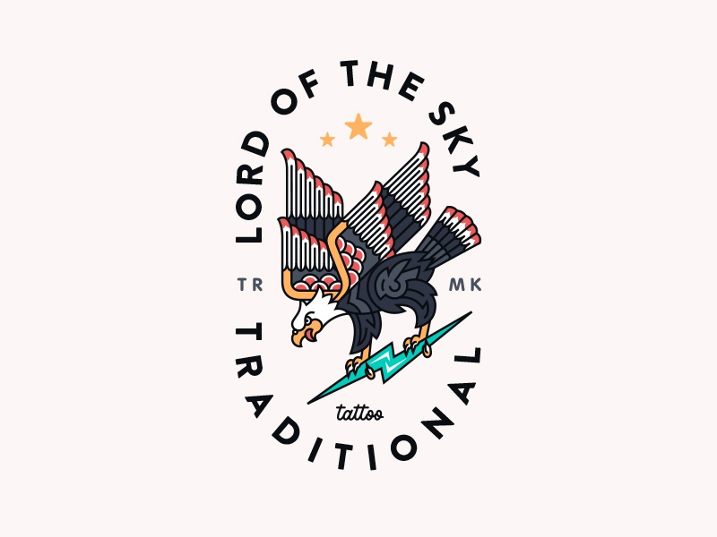Lord Of The Sky  lettering badge typography flat illustration lineart outline lightning usa eagle tattoo
