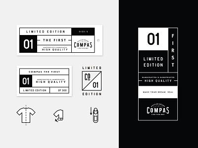 Compas Brand packaging badge label branding apparel tshirt tag logo icon hang tag compas brand