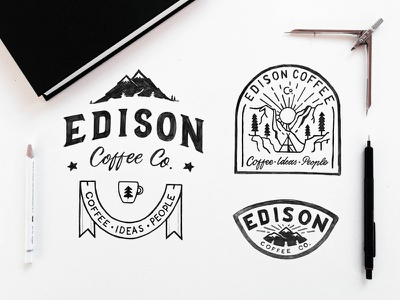 Coffee is Adventure badge typography coffee lettering outdoors travel adventures outline line art clean illustration sketch