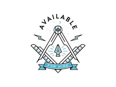 Available For Hire hire symbol mark pen tool vector outline lineart illustration flat typography badge compasses