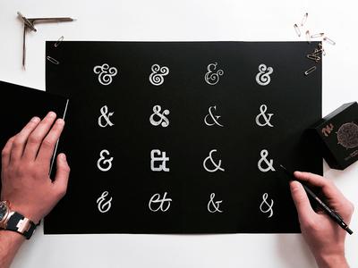 16 Ampersands Set ligature monogram ampersand creative market simple clean typeface font handlettering lettering typography