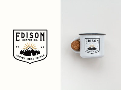 Campfire mug sketch illustration clean line art outline adventures travel outdoors mug coffee typography badge