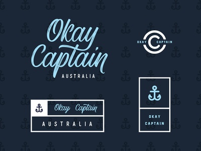 Okay Captain print & Lables anchor script logo print badge typography lettering label branding
