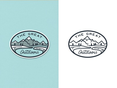 The Great Outdoors Patch 2 river adventure lettering outdoors travel outline line art badge pines mountains illustration flat