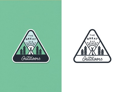 The Great Outdoors Patch 3 illustration camp forest pines badge line art outline travel outdoors lettering adventure camping