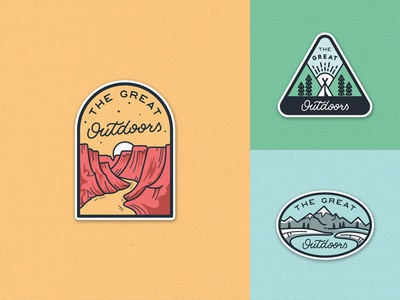 The Great Outdoors Patches Set camping adventure lettering outdoors travel outline line art badge pines forest camp illustration