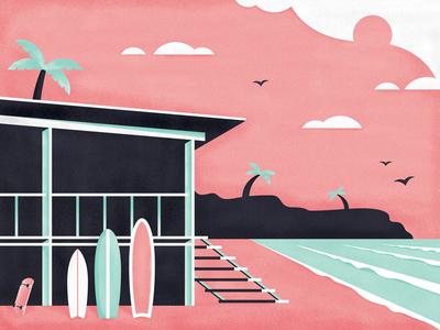 Balangan Beach summer beach surfboard ocean paradise palm texture coast illustration camp surf