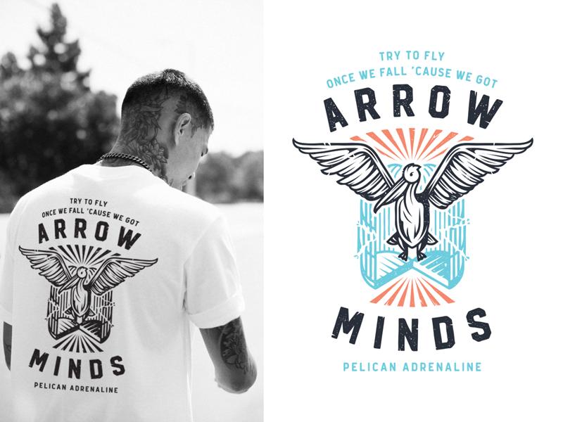 Arrow Minds chest t-shirt liberation illustration badge print cage wings flight pelican bird