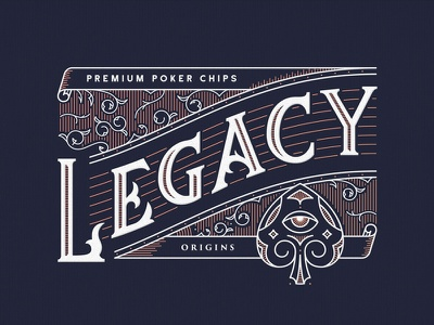 Legacy packaging branding poker. spades legacy outline lineart filigree crest badge vintage typography lettering