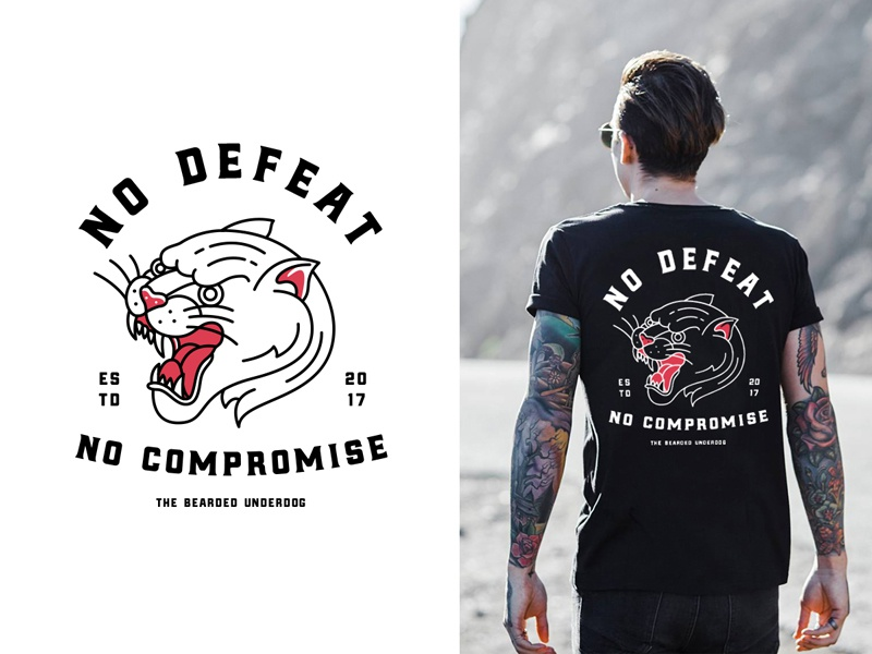 No Defeat modern vintage typography chest badge oldschool tattoo traditional tattoo line art outline t-shirt