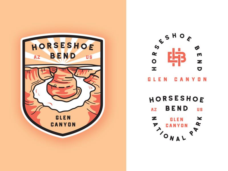 Horseshoe bend National Park typography monogram outline  travel outdoors line art crest illustration horseshoe bend flat canyon badge adventures