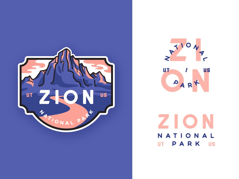 Zion National Park adventures badge canyon flat zion illustration crest line art outdoors outline  travel monogram typography