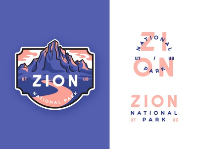 Zion National Park adventures badge canyon flat zion illustration crest line art outdoors outline  travel monogram typography