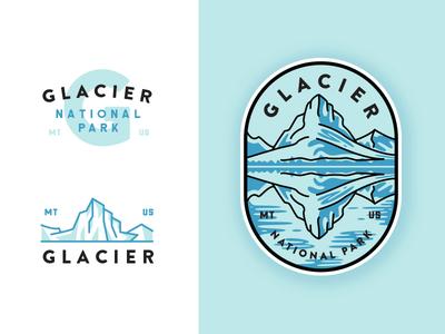 Glacier National Park adventures badge mountain flat glacier illustration crest line art outdoors outline  travel monogram typography