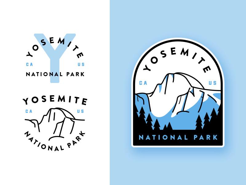 Yosemite National Park adventures badge canyon flat yosemite illustration crest line art outdoors outline  travel monogram typography
