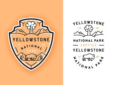 Yellowstone National Park typography outline  travel outdoors line art crest illustration buffalo yellowstone flat volcano badge adventures