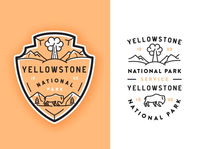 Yellowstone National Park typography outline  travel outdoors line art crest illustration buffalo yellowstone flat volcano badge adventures