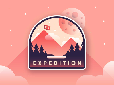 Expedition flag mountains adventures badge flat expedition illustration outdoors travel gradient typography