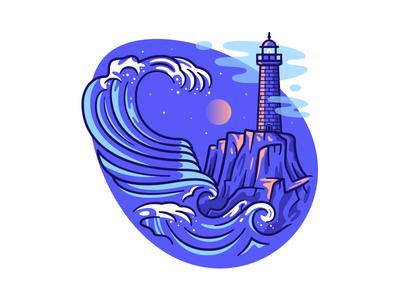 Nazare Big Wave moon night surf portugal nazare wave ocean lighthouse flat outline line art illustration