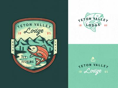 Teton Valley patch outline line art illustration teton valley fishing fish typography lettering print branding badge