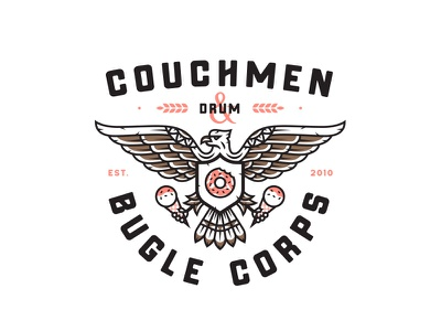 Couchmen ampersand drums chest shield illustration candy ice-cream doughnut eagle typography print badge