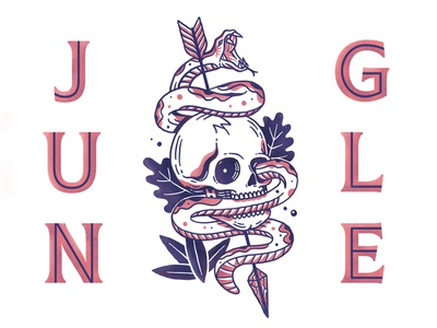 Jungle texture character illustration danger tropical jungle arrow snake skill typography print badge