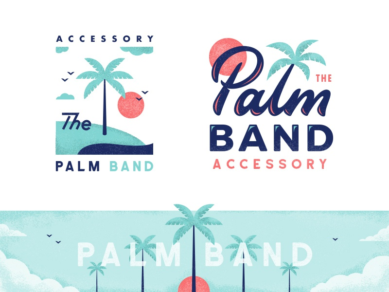 Palmband typography type texture flat lettering badge illustration sunset tropical island palm