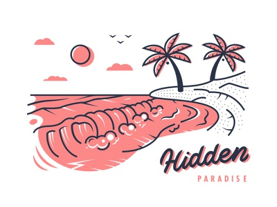 Hidden Paradise swell surf waves ocean line art outline paradise lettering illustration tropical island palm