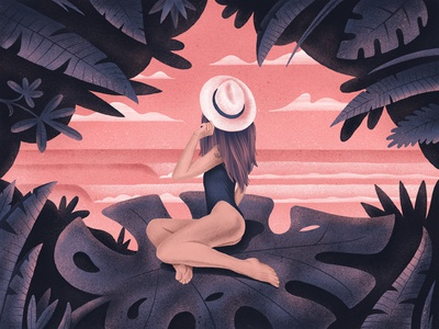 Bali Goddess Illustration hat sexy beauty girl swell waves ocean island tropical jungle texture illustration