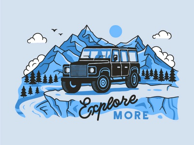 Explore More lineart outline clouds mountains adventures lettering illustration offroad outdoor defender landrover