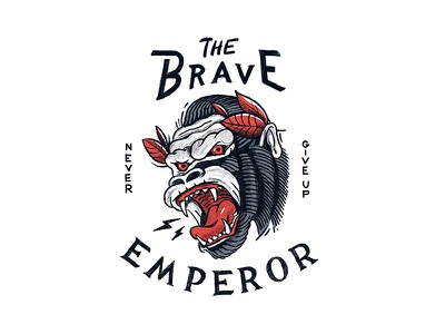 The Brave Emperor scream lighting jungle emperor brave illustration lineart king outline angry grin gorilla