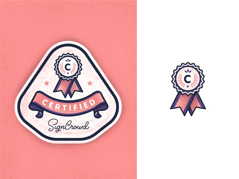 Certified Label label badge rewards awards verified verification crown icon illustration stamp