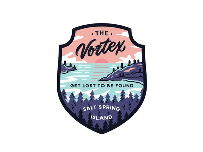 The Vortex Final badge outdoors adventures travel island outline texture lineart lettering typography